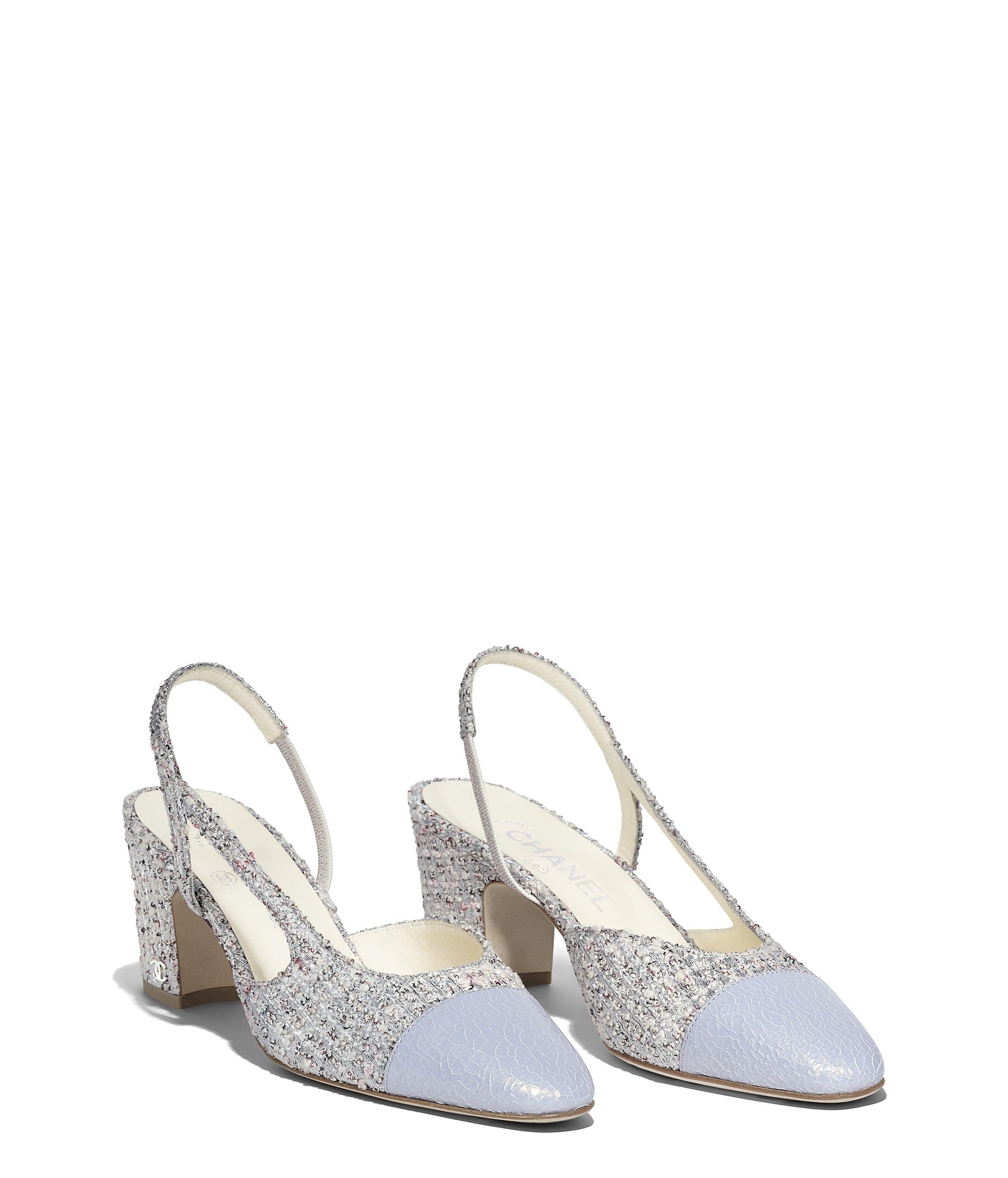 209d20cc7af Chanel - SS2018 | Beige, silver & gray tweed slingbacks | PUMPS in ...