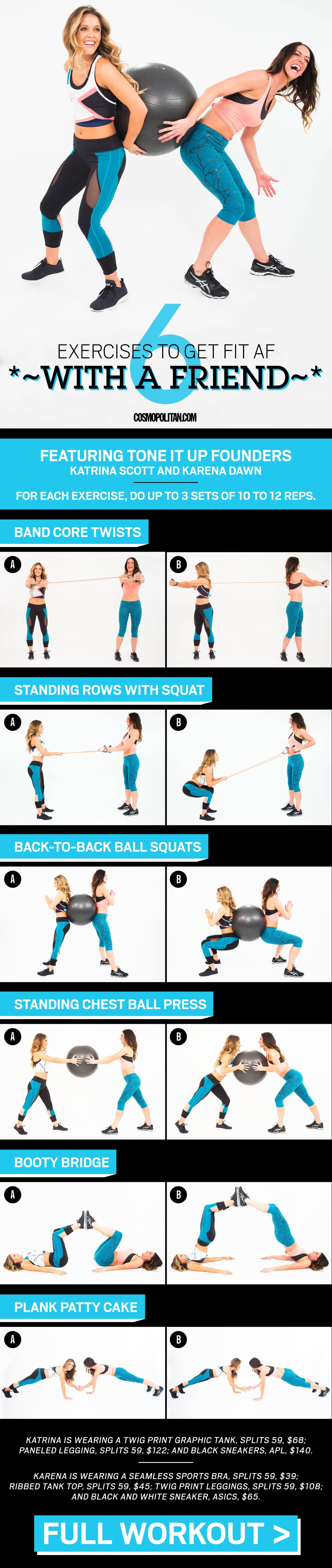 PARTNER WORKOUT: To make exercise more fun, recruit a friend and try these moves, designed and demonstrated by Katrina Scott and Karena Dawn, IRL friends and the trainers behind the Tone It Up fitness empire. Click through for the full workout routine that you can do at home or at the gym. This full body workout will tone and strengthen your entire body!