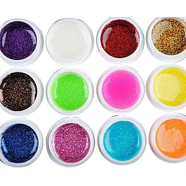 12PCS Mixs Color Glitter Powder UV Color Gel for Manicure Nail Tips(8ml)