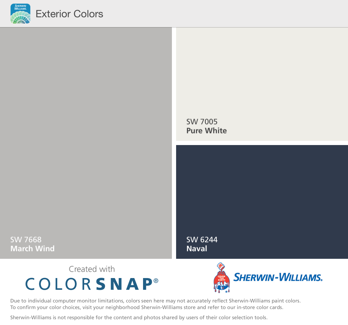 Sherwin Williams March Wind Pure White And Naval