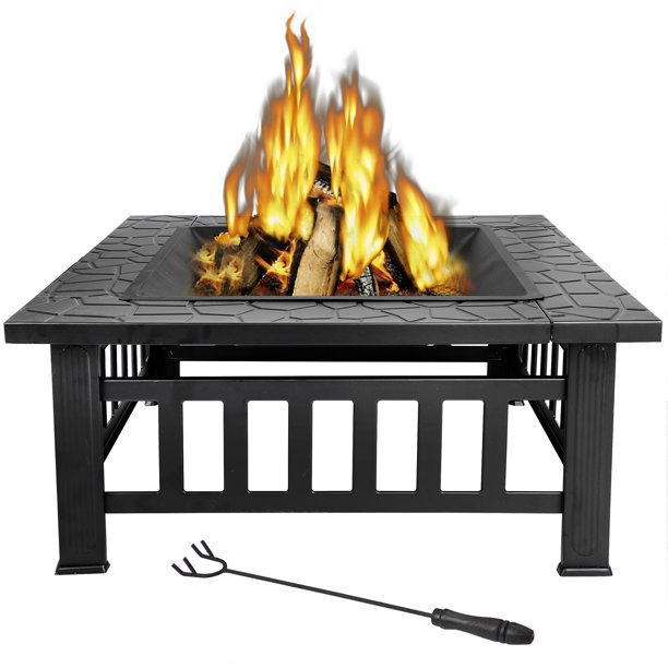 Zenstyle 32 Steel Fire Pit Outdoor Backyard Barbecue And Winter Warming Fireplace W Rain Cover Walmart Com Wood Burning Fire Pit Fire Pit Backyard Outdoor Fire Pit