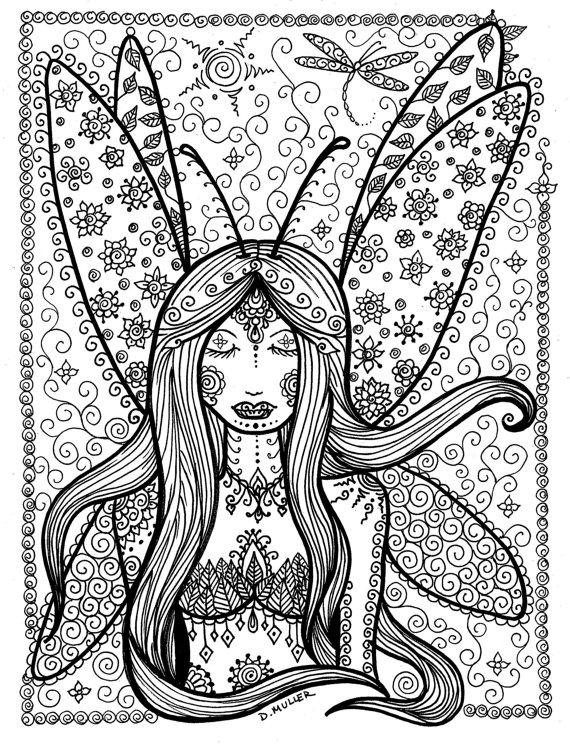 Fantasy Fairy Coloring Book Page Fee fée fata de hadas Фея víla Fada ...