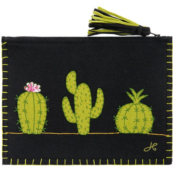 Jan Constantine Fiesta Cactus Clutch - Black ($95) ❤ liked on Polyvore featuring bags, handbags, clutches, green, tassel clutches, zip purse, zipper handbags, zipper purse and tassel purse