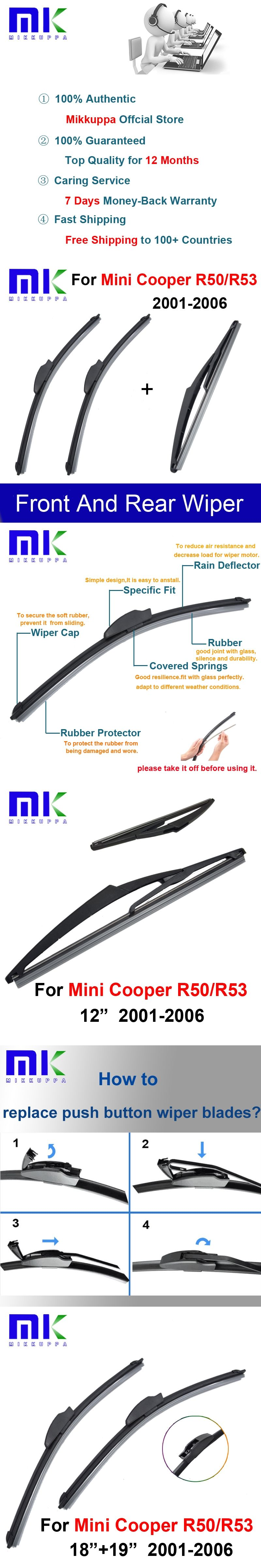 Front And Rear Wiper Blades For Mini Cooper R50 R53 2001 2002 2003