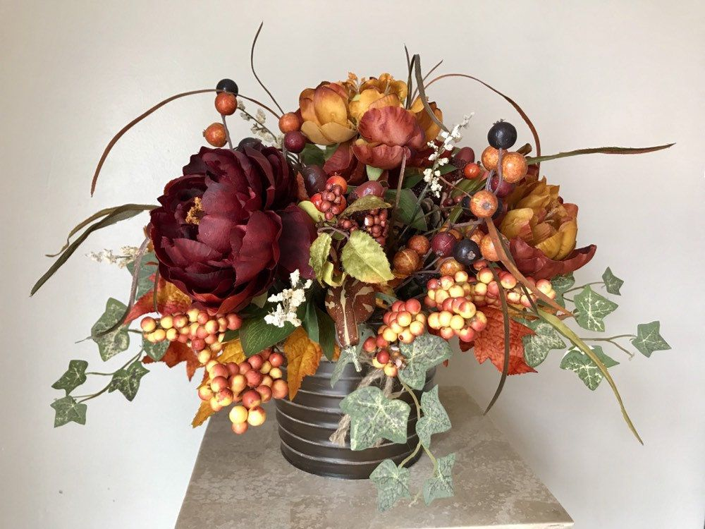 Persimmon Burgundy 22 Traditional Tuscan Fall Thanksgiving Decorative Floral Tabletop Centerpiece Arrangeme Floral Thanksgiving Design Fall Thanksgiving