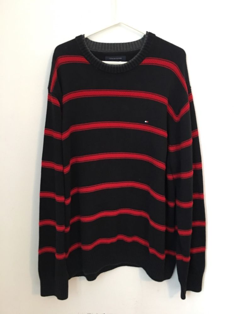 Mens TOMMY HILFIGER Red Black Stripe Sweater XL Extra Large Crewneck Cotton  #TommyHilfiger #Crewneck