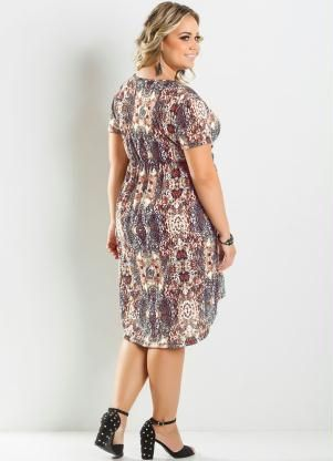 Vestido Mullet Estampa Animal Print Plus Size Vestido