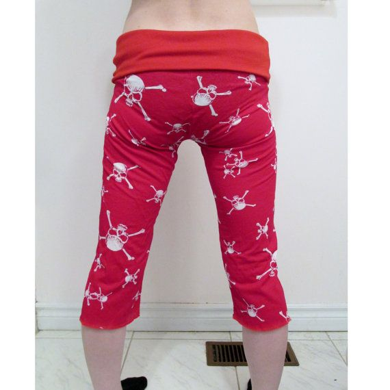 CLEAROUT SALE Red Skulls Women's Capri Pants DIY Metal Punk Goth ...