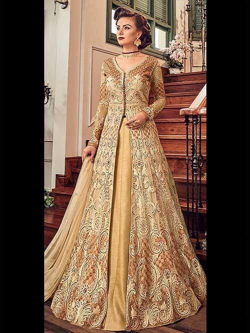 Cream Embroidered Branded Premium Net Anarkali Pant ...
