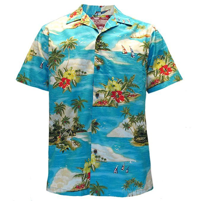 4c09c9b5 Robert J. Clancey Mens Coconut & Palm Turquoise Hawaiian Shirt - Size 4XL
