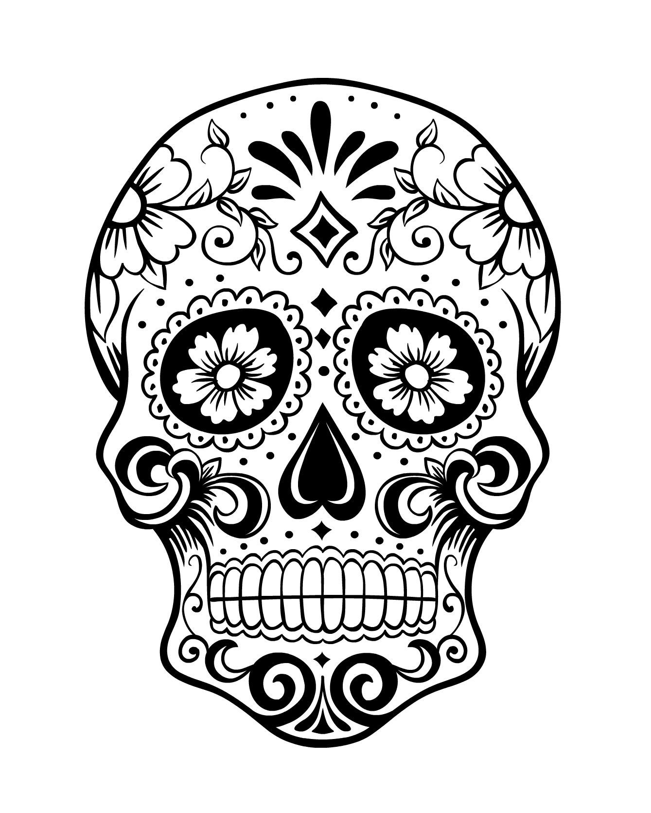 Day of the Dead Skull Coloring Page 1 Skull coloring