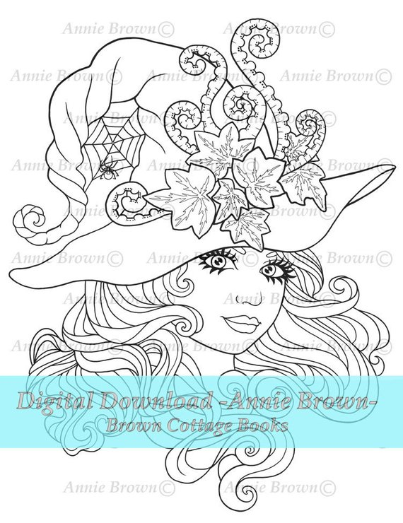 Adult Coloring Page Halloween Witch Digi Stamp Line Art Fantasy