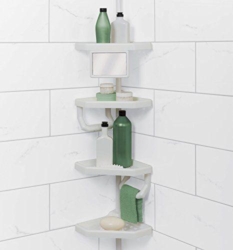 Corner Tension Pole Caddy Rack Holder Shelf Shower Bathtub Bathroom Organizer