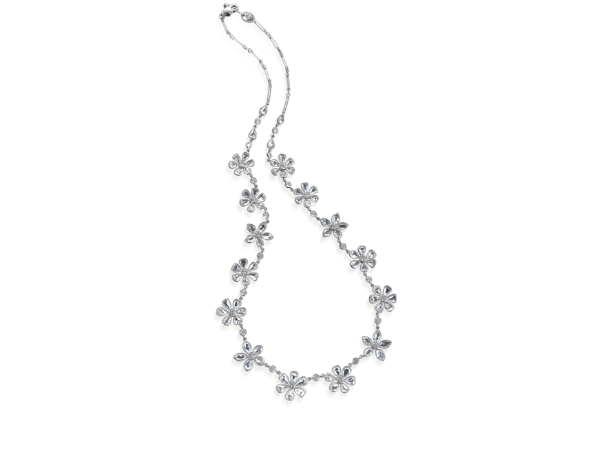 FLEURETTE 00423-16            16 flower platinum and rose cut diamond necklace