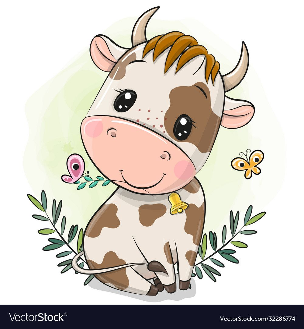 Cute Cartoon Little Bull On A Green Background Download A Free Preview Or High Quality A Baby Animal Drawings Cute Cartoon Animals Cartoon Drawings Of Animals