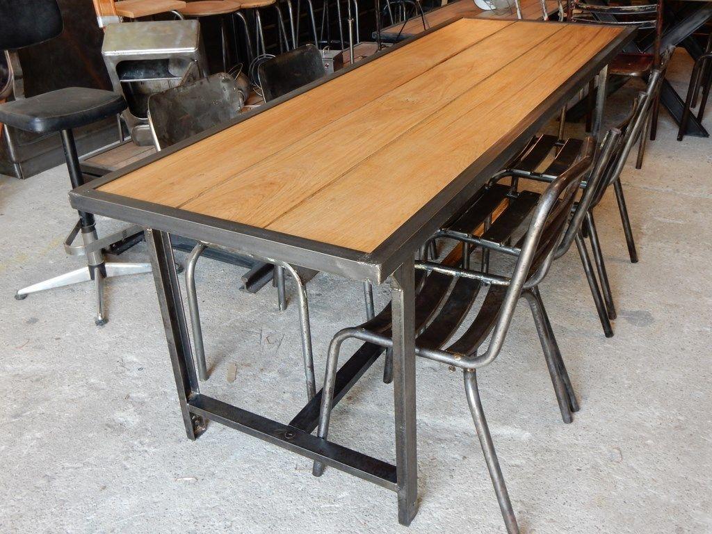 Table militaire fer et bois geo nancy design tables m tal et bois pinterest table - Meuble fer et bois ...