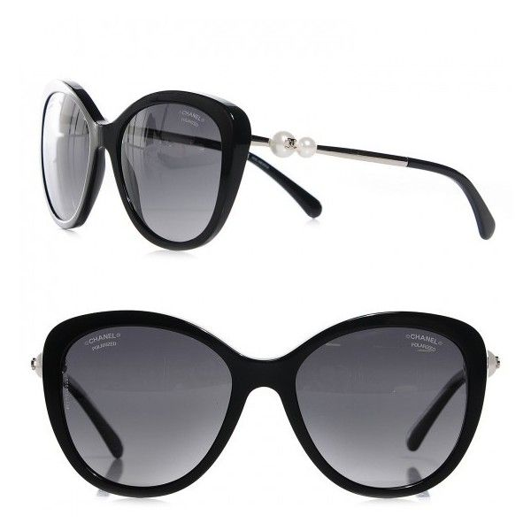 CHANEL Butterfly Pearl Polarized Sunglasses 5338-H Black ❤ liked on ...
