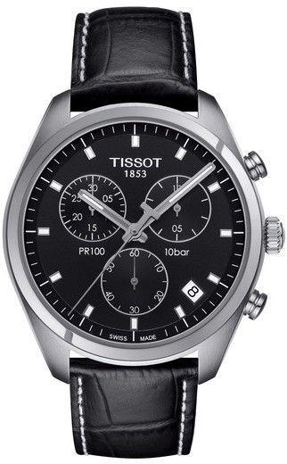 e9e3a24d429 Tissot PR100 Chronograph Leather Strap Watch
