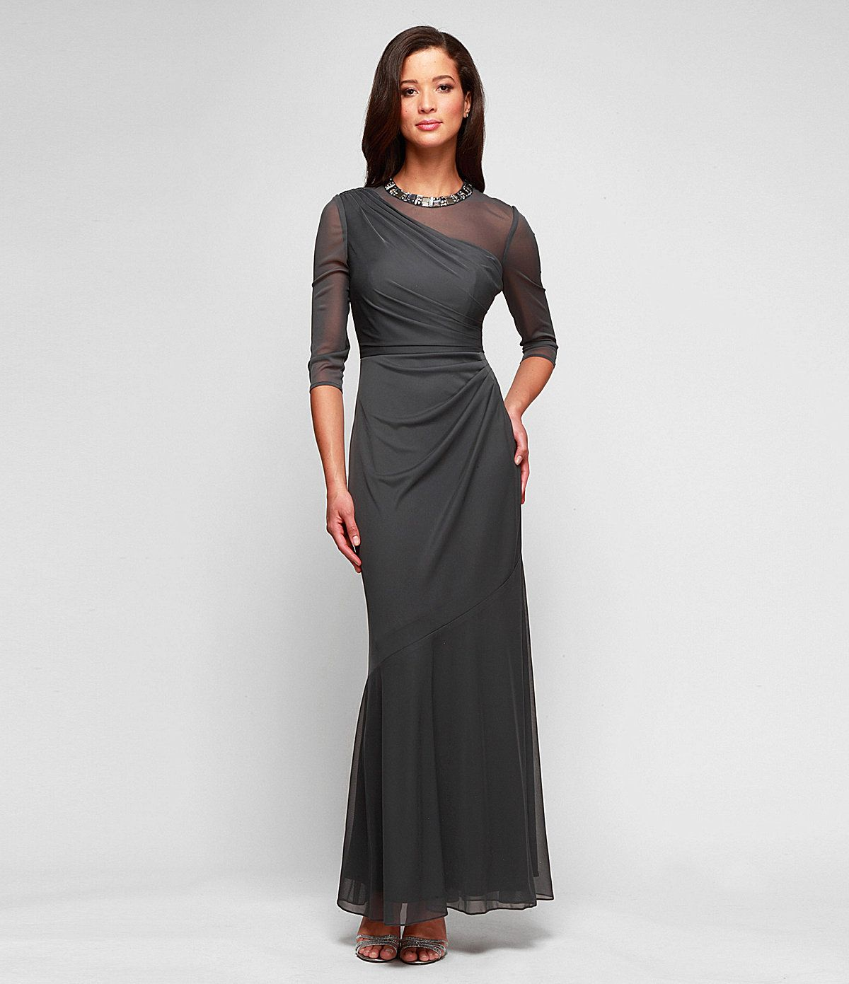 Alex Evenings Beaded Illusion-Neckline Gown | Dillards.com ...