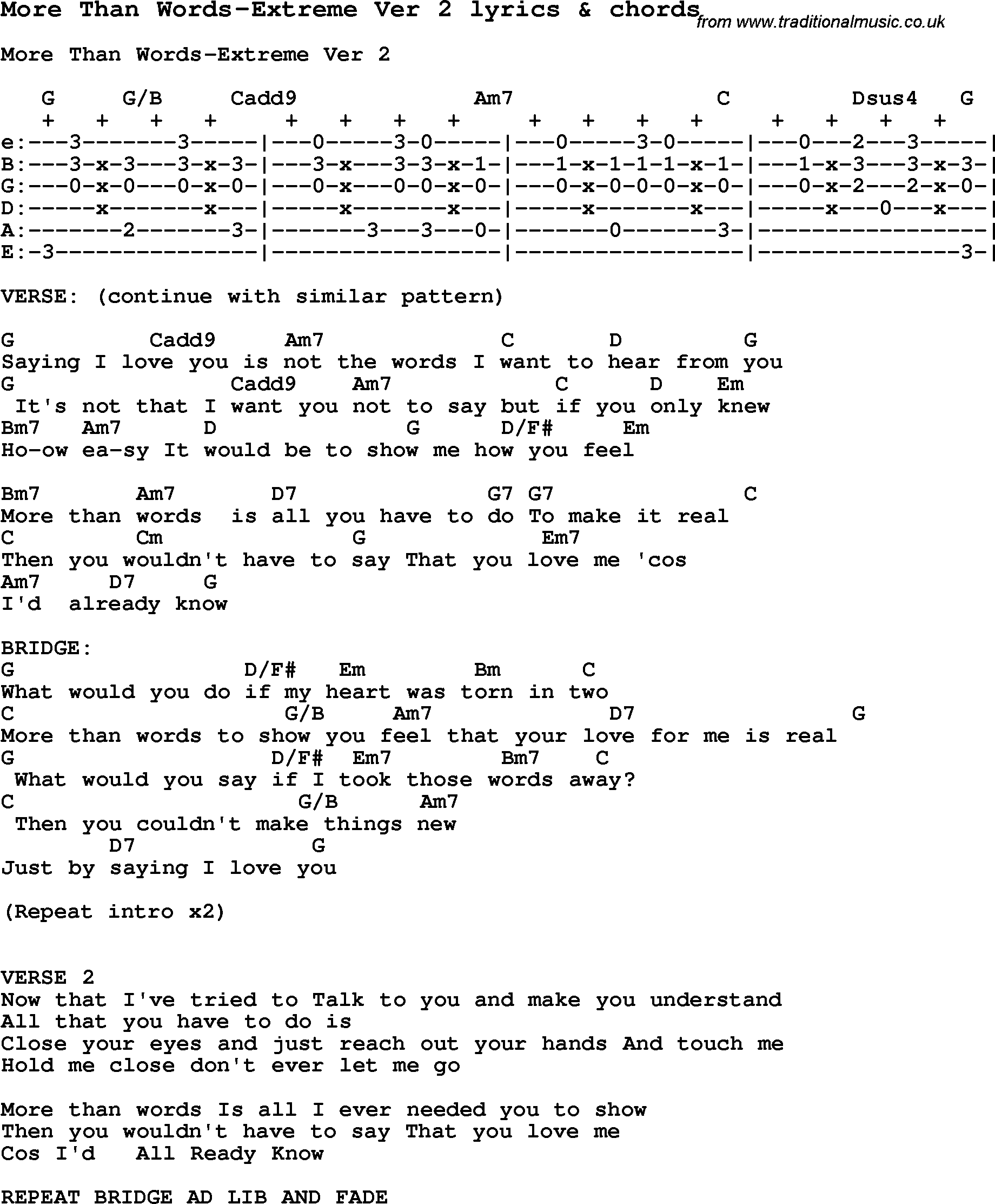 Love Song Lyrics For More Than Words Extreme Ver 2 With Chords For