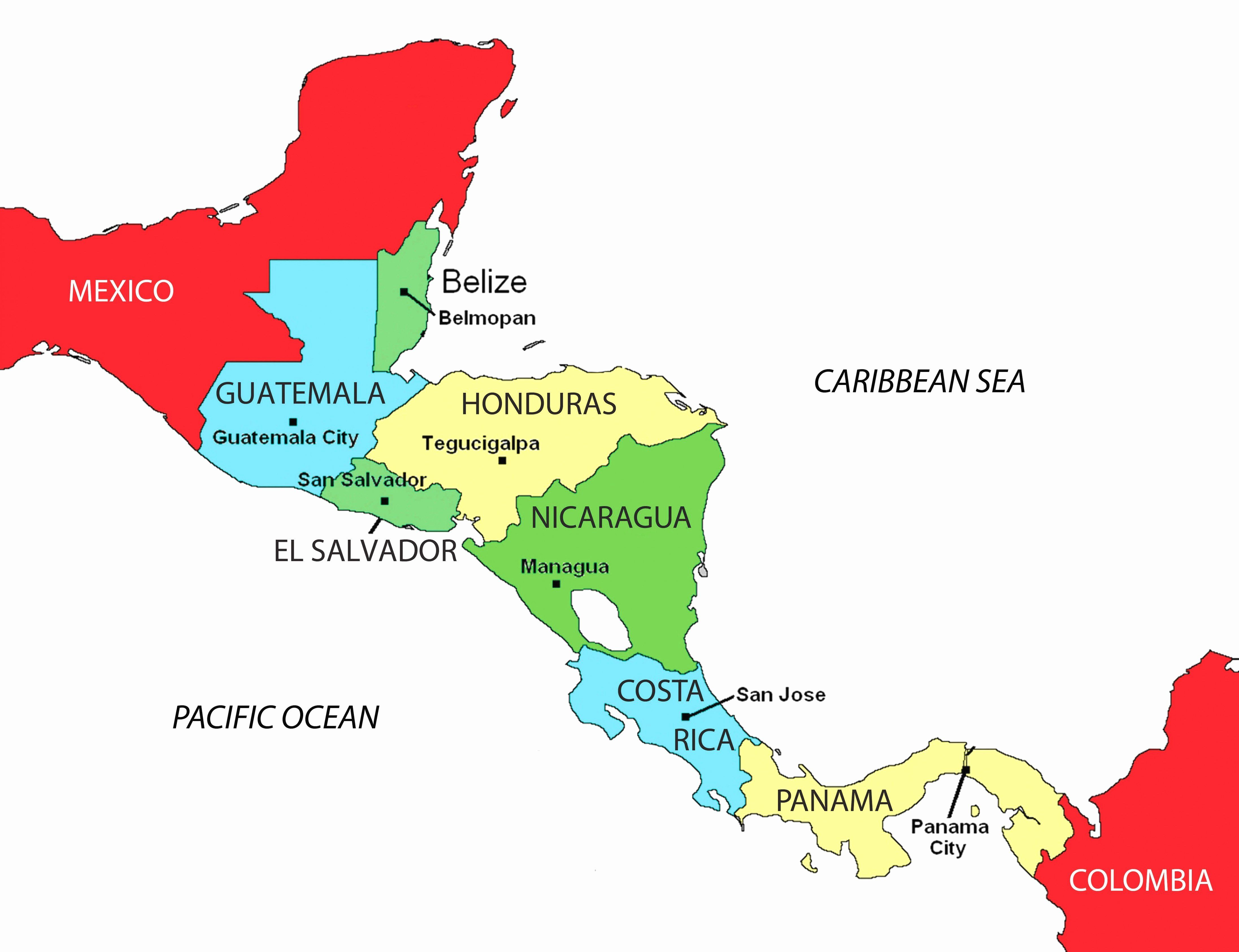 Spanish Speaking Countries Coloring Map In 2020 Central America