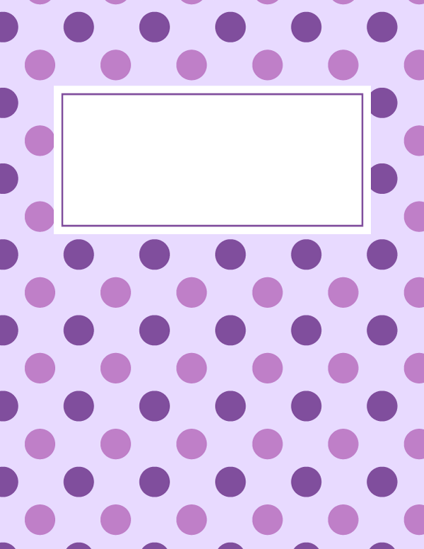 Free Printable Purple Polka Dot Binder Cover Template Download
