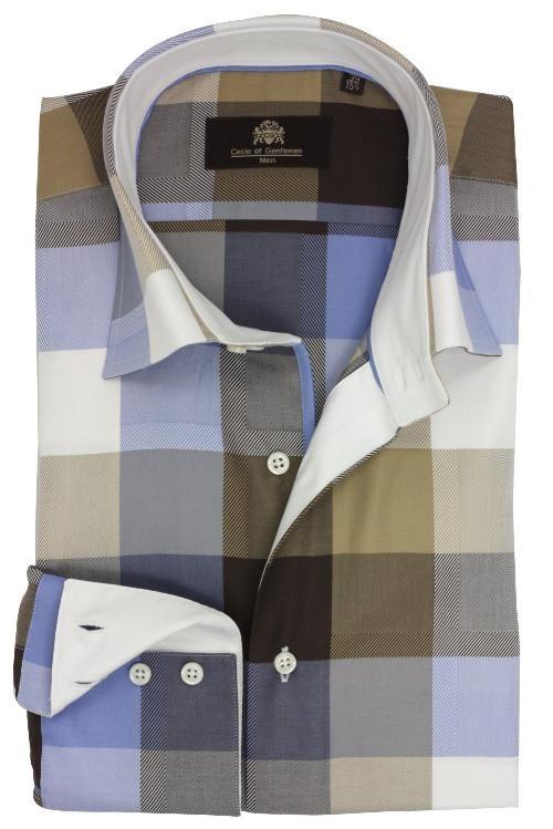 Circle Of Gentlemen Overhemd.Circle Of Gentlemen Italiaans Overhemd Wit Blauw Camel Overhemden