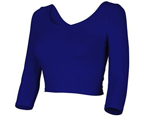 New Womens Trendy Solid Color Basic Cropped Top with Scooped Neck and Back Shirt 3/4 Sleeve Royal Blue Small Auliné Collection