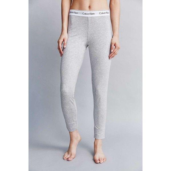 Calvin Klein Modern Logo Legging ($67) ❤ liked on Polyvore featuring pants, leggings, evening pants, elastic waistband pants, stretch waist pants, elastic waist pants and calvin klein