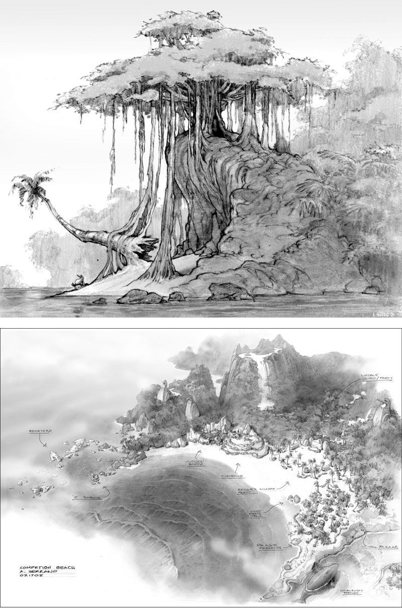 Desenhos de Armand Serrano para Surf's Up - THECAB - The Concept Art Blog