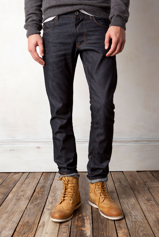 8cde9779996 Blue/Black Fitted Denim Jeans, and Worn Work Boots. Men's Spring ...