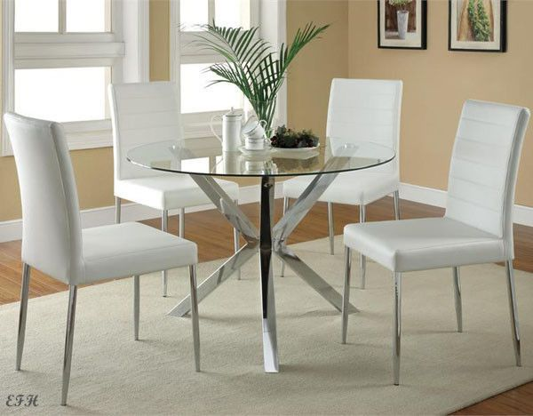 NEW 5PC VINCE ROUND GLASS CHROME METAL DINING TABLE SET W