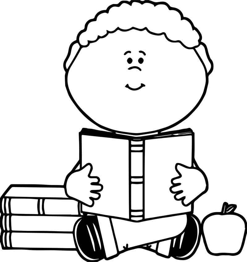Staying And Reading Book Boy Coloring Page Coloring Pages For