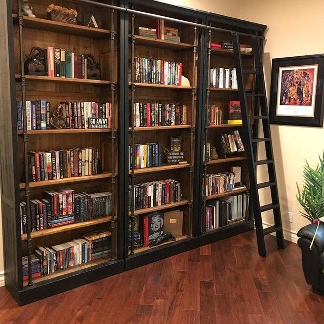 23 Charming Beige Living Room Design Ideas To Brighten Up: Barton Bookcase With Ladder - Black - $1745 In 2020