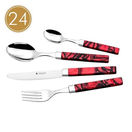 Scala 24 Piece Cutlery Set, Red