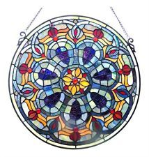 "20"" Round Victorian Design Tiffany Style Stained Glass Window Panel Suncatcher"