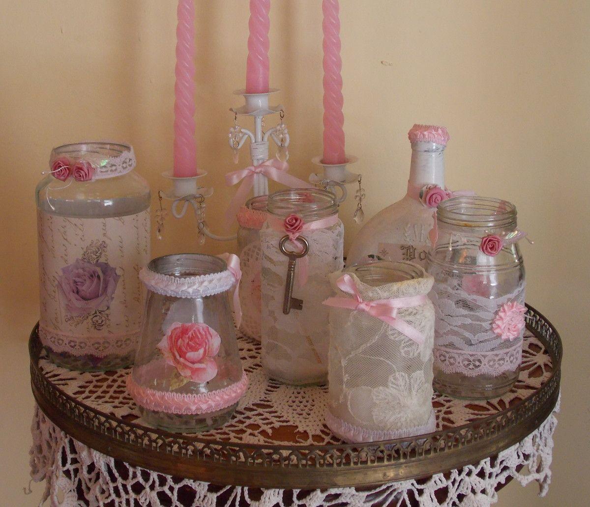 Frascos y botellas decoradas estilo vintage shabby chic - Botellas de plastico decoradas ...