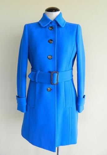 JCrew Double Cloth Slim Trench Coat bright cobalt blue $350 winter wool