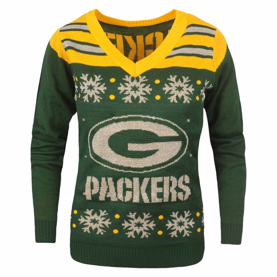 Green Bay Packers Women S Light Up V Neck Sweater Green Packers Womens Green Bay Packers Vneck Sweater