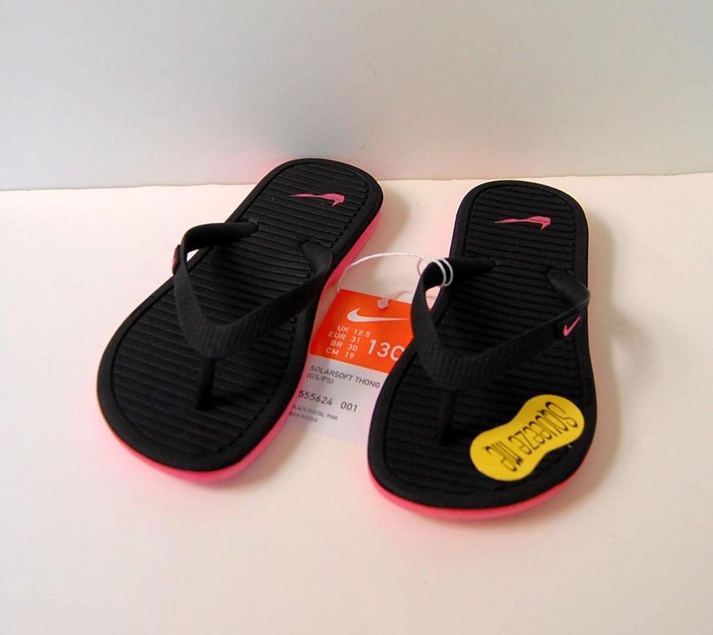 f38dcf83b1ce0 Nike Flip Flops Solarsoft Thong 2 Black 13 NWT Pink Sandals Logo 13C Girls   Nike  FlipFlops