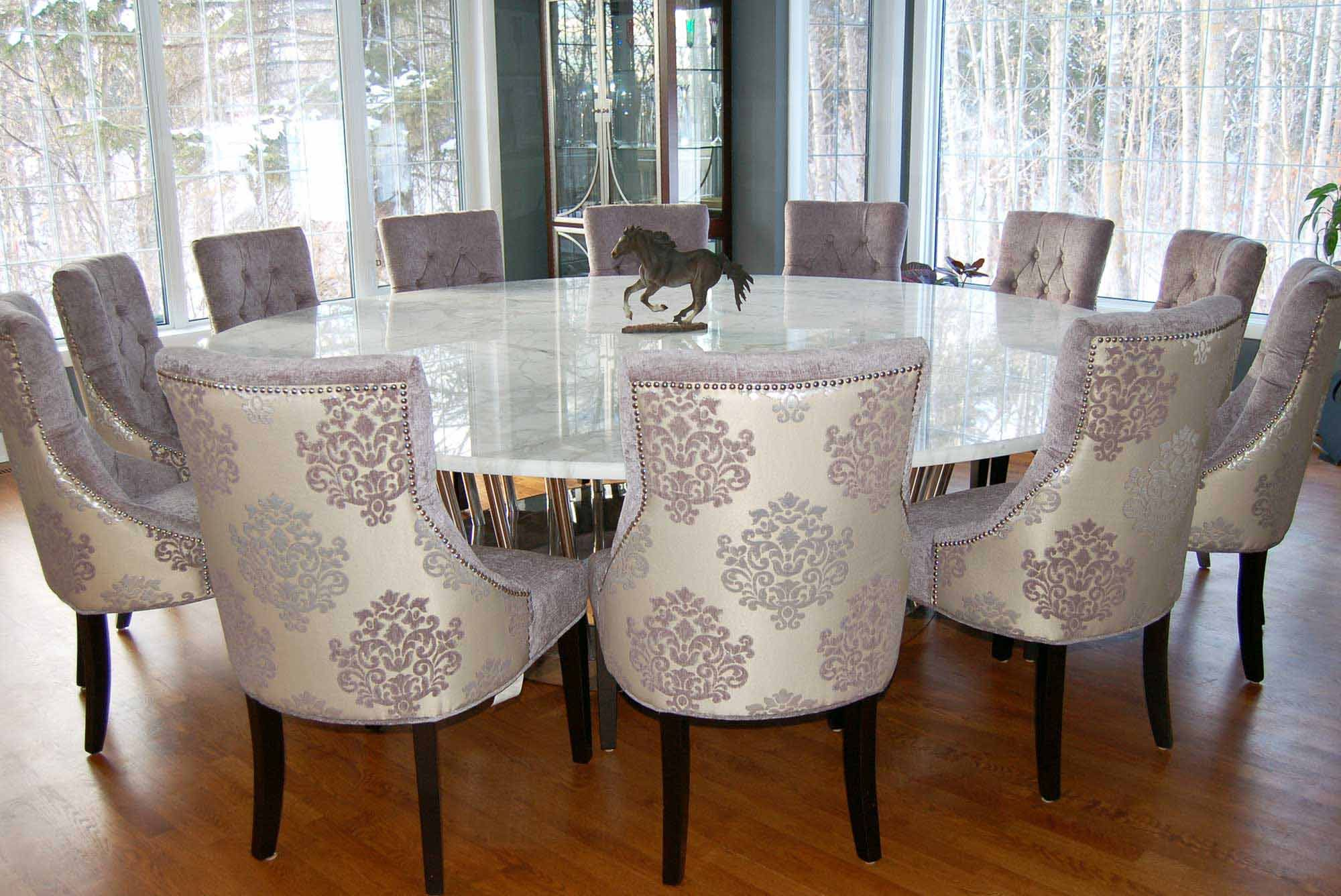 Dining Room Big Rounded Dining Table With Marble Top Expensive And Elegant Dining Ch Round Dining Room Table Large Dining Room Table Large Square Dining Table