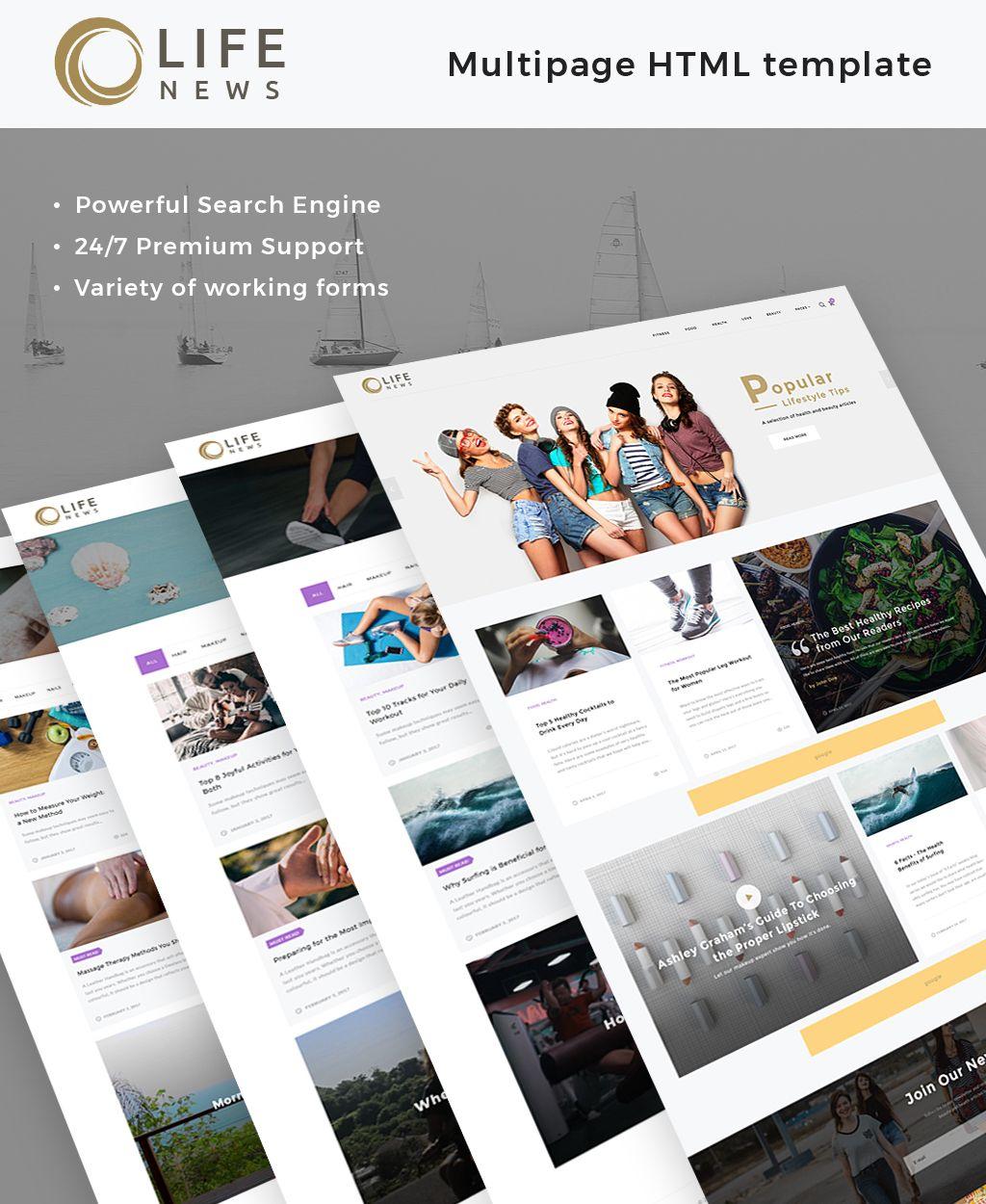 Life News Website Template Design Bundle Pinterest Health
