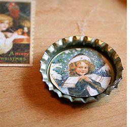 Home-Dzine - Bottle cap tree ornaments