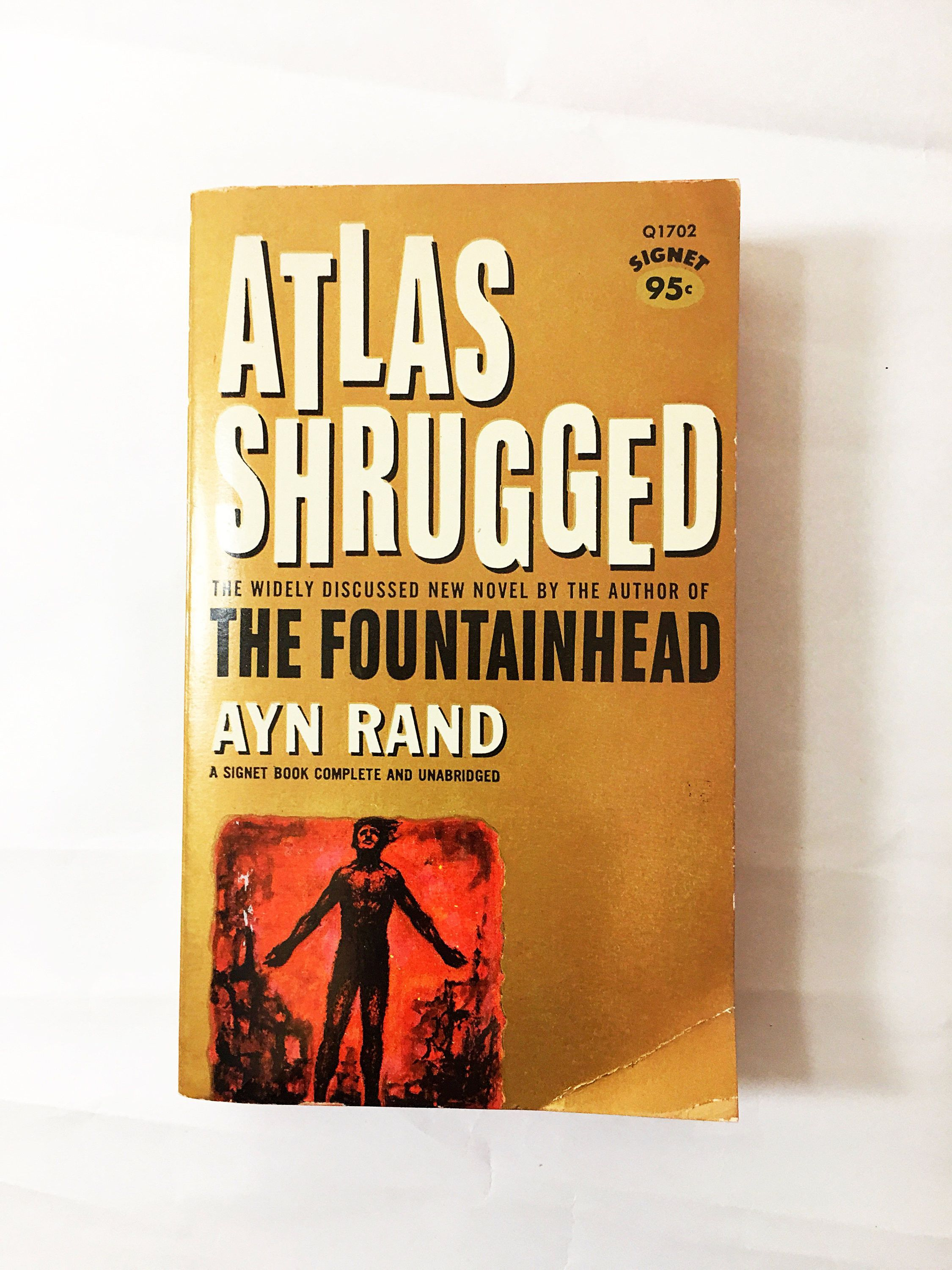 Atlas Shrugged book by Ayn Rand. Vintage Paperback circa 1964. Dedicated to Nathaniel Branden. Who is John Galt? Roots of Objectivism!