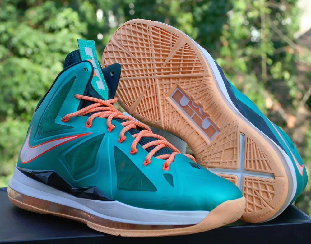 dc75e883753e Nike LeBron X 10 Setting Miami Dolphins Size  11.5 Atomic Teal Orange 541100 -302  Nike  BasketballShoes