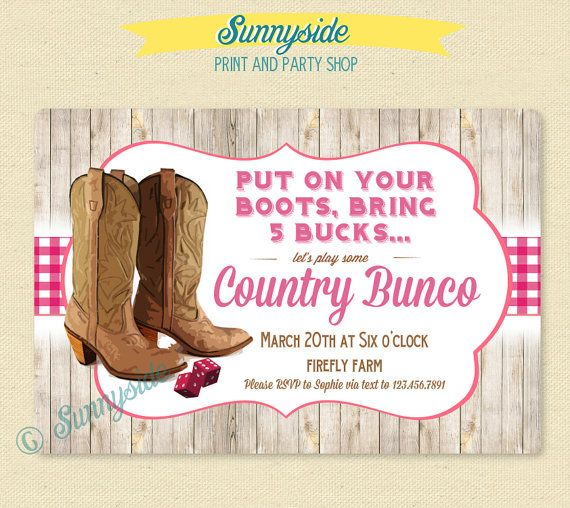 Country Bunco Party Invite Birthday Bunco Invitation Western