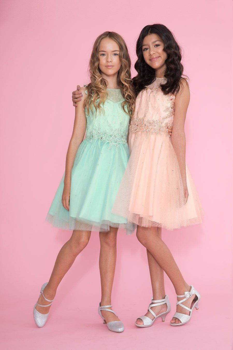 Tween Girls Short Blush Pink Dress with Beaded Lace Bodice
