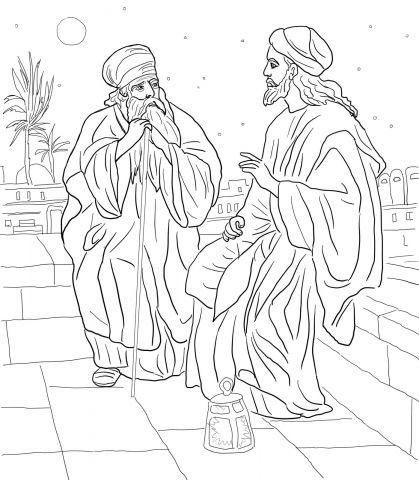 Jesus and Nicodemus (John 3) | Para colorear | Pinterest | Colorear ...