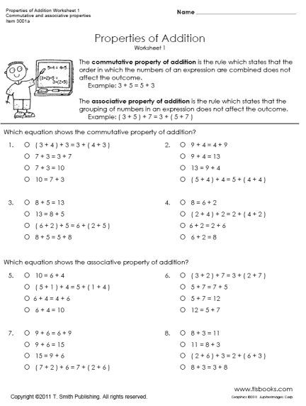 Identity Property Of Addition Worksheets 3rd Grade Properties Of Addition First Grade Math Worksheets First Grade Math