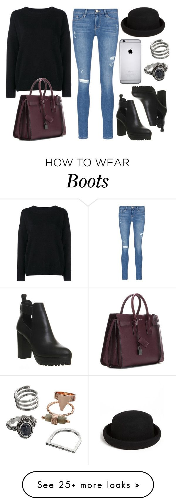 """""""Style #11075"""" by vany-alvarado on Polyvore featuring Frame Denim, Yves Saint Laurent, Office, Topshop and Mudd"""